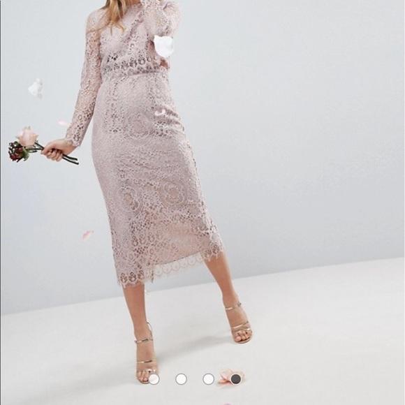 9e1e731e6ab ASOS DESIGN lace long sleeve midi pencil dress NWT